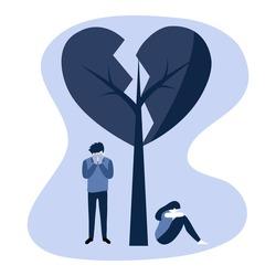 Broken heart concept vector illustration. Sad man and woman crying under broken heart tree in flat design. Bad Valentine's Day. Breakup or divorced couple.