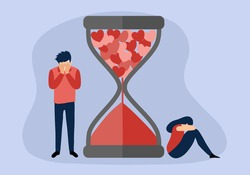 Broken heart concept vector illustration. Sad man and woman crying with falling heart hourglass in flat design. Bad Valentine's Day. Breakup or divorced couple.