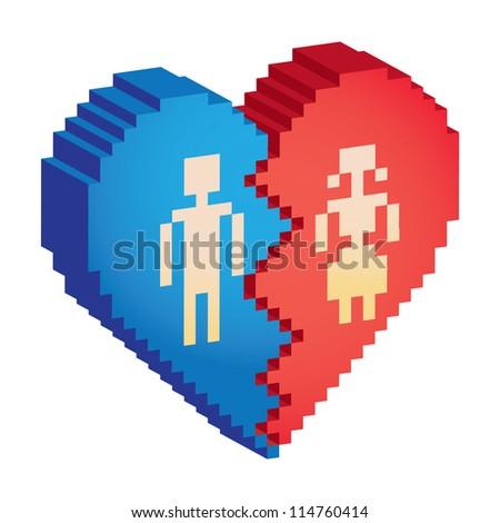 broken heart 3d pixels - illustration