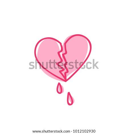 broken heart doodle icon