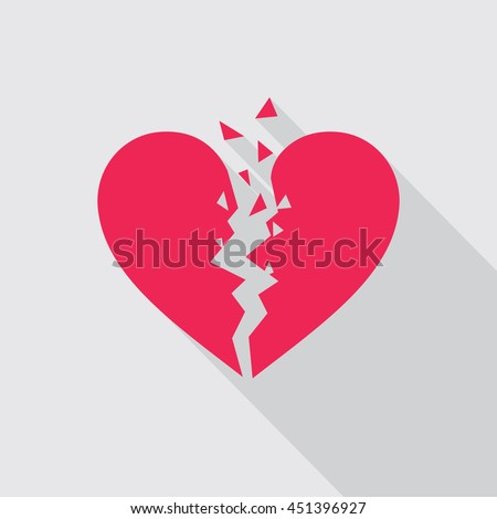 broken heart flat icon in red