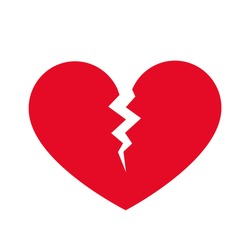 Broken heart, heartache, heart attack sign. Vector illustration, red color, flat design element, isolated on white background.