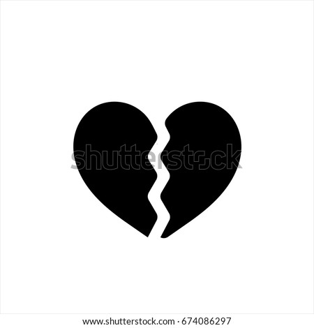 Broken heart icon in trendy flat style isolated on background. Broken heart icon page symbol for your web site design Broken heart icon logo, app, UI. Broken heart icon Vector illustration, EPS10.
