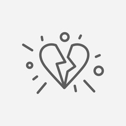 Broken heart icon line symbol. Isolated vector illustration of  icon sign concept for your web site mobile app logo UI design.