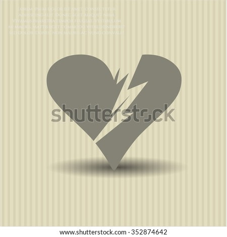 Broken heart icon or symbol