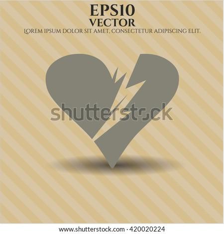 broken heart icon vector symbol flat eps jpg app web