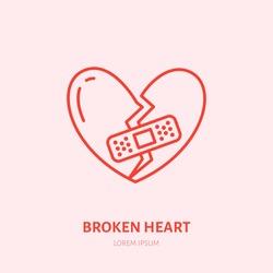 Broken heart illustration. Heartbreak flat line icon, relationship problem. Break up sign.