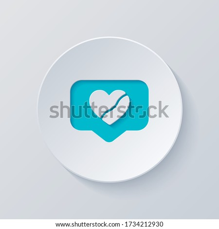 Broken heart in cloud notification, dislike. Social icon. Cut circle with gray and blue layers. Paper style