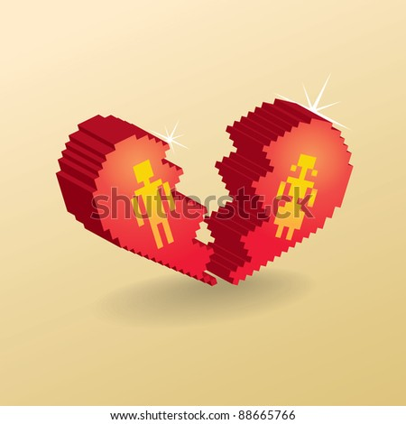 broken heart in 3d pixels - illustration