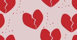 broken heart isolated on a light background.seamless pattern.vector illustration.