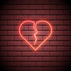 Broken heart neon light icon. Heartbreak glowing sign. Beak up. Vector isolated illustration.