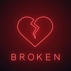 Broken heart neon light icon. Heartbreak glowing sign. Beak up. Vector isolated illustration