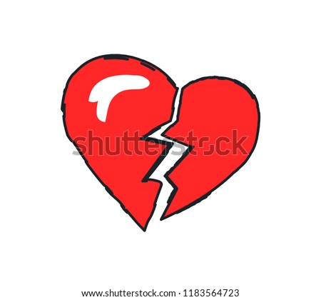 Broken heart red icon closeup. End to relationship or marriage. Break up and separation split of couple, cracked love isolated on vector illustration