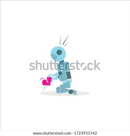 broken heart robot model for