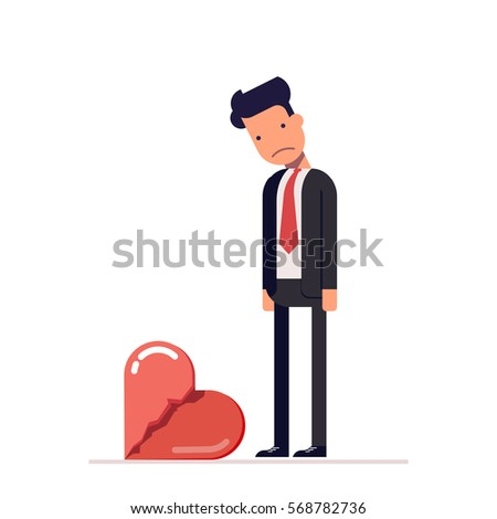 Broken heart. Sad man in a business suit. Divorce in the family. The loss of his beloved. Dead love. Cartoon character in flat style isolated on white background. Vector, illustration EPS10.