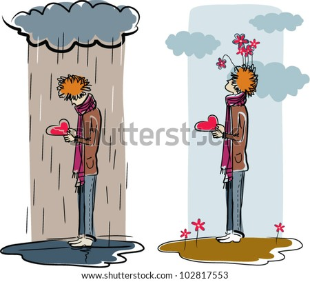 Broken heart. The vector illustration of young man in two situations, under rain with broken heart in hands and after rain with solid heart, symbolizing broken and happy love.