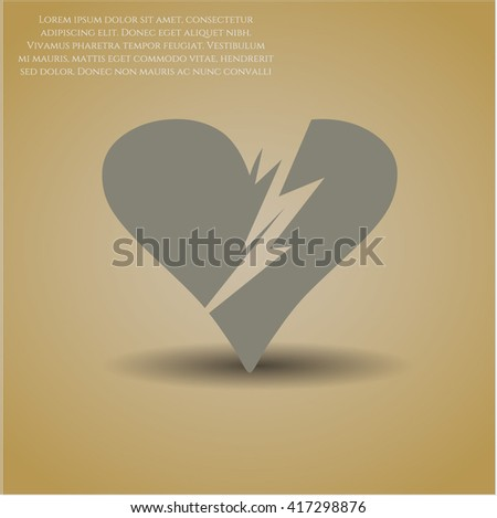 Broken heart vector icon