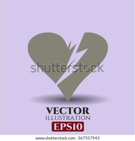Broken heart vector icon or symbol