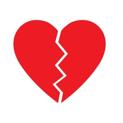 Broken Heart vector icon. red broken heart isolated illustration