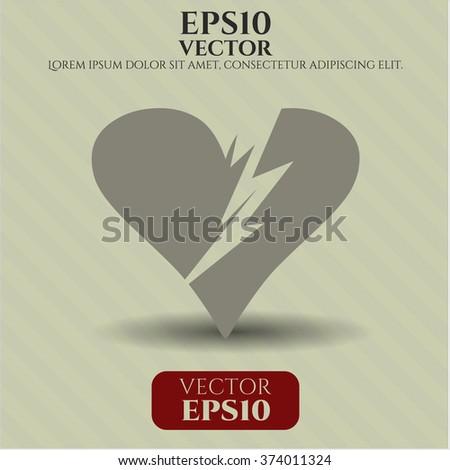 Broken heart vector symbol