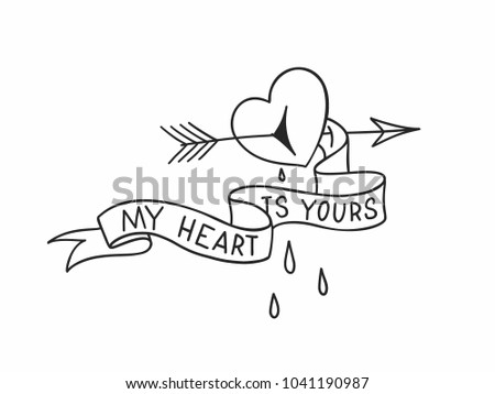 arrow through heart vector download free vector art stock