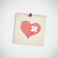 Broken Heart with Bandage on Note Paper Vector