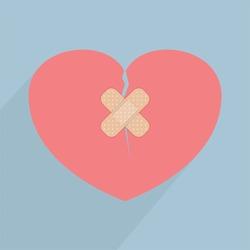 Broken heart with bandage, VECTOR, EPS10