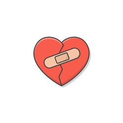 Broken Heart With Bandage Vector Icon Illustration. Plaster Love Heart Flat Icon