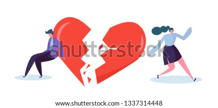 Broken Heart with People Lover Concept. Sad Young Man and Woman Character Suspect Partner Jealousy. Crisis Family Relationship. Emotion Partner Conflict. Flat Cartoon Vector Illustration