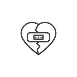 Broken heart with plaster line icon. linear style sign for mobile concept and web design. Heart with adhesive plaster outline vector icon. Symbol, logo illustration. Vector graphics