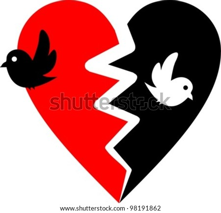 broken heart with two birds
