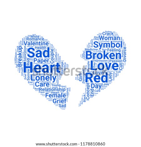 Broken heart word cloud vector design creative concept. Broken heart icon shape. Trendy vector word collection.