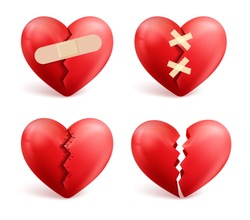 Broken hearts vector set of 3d realistic icons and symbols in red color with wound, patches, stitches and bandages isolated in white background. Vector illustration.