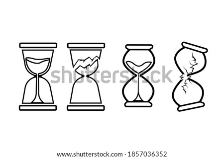 broken hourglass icons on white