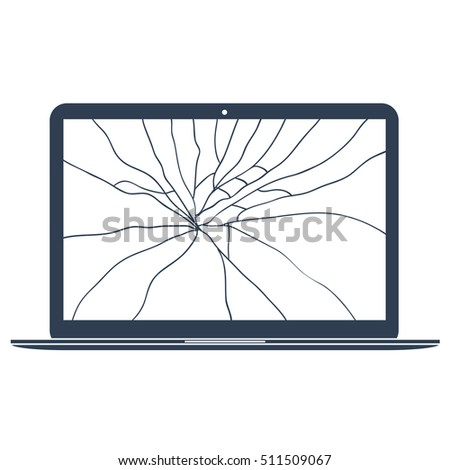 broken laptop icon crack glass