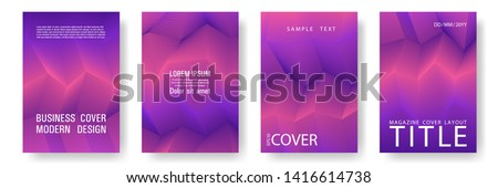 Broken lines gradient report cover templates vector set. Geometric texture cover page layout templates set. Brochures graphic design, business booklet pages corporate layouts in coral, violet, purple.