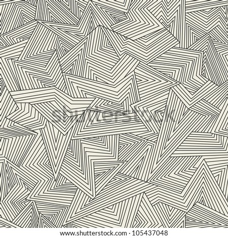 Broken lines. Seamless abstract background. Black and white. Vector