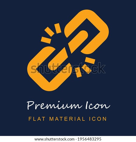 Broken Link premium material ui ux isolated vector icon in navy blue and orange colors Stock photo ©