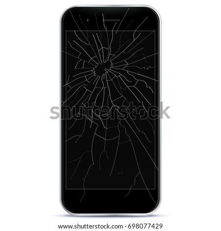 Broken Mobile Phone Vector Illustration