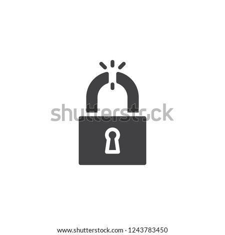 Broken padlock vector icon. filled flat sign for mobile concept and web design. Unlocked lock simple solid icon. Symbol, logo illustration. Pixel perfect vector graphics