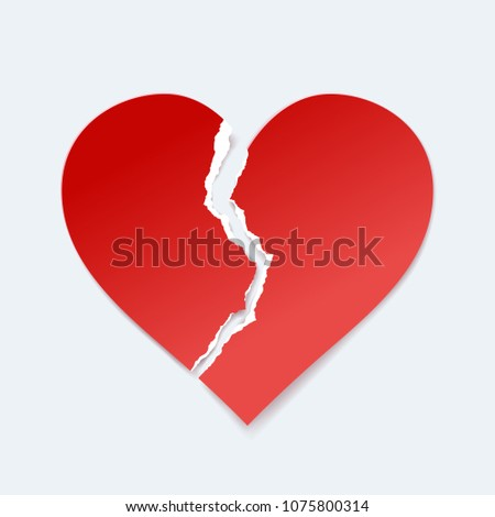 broken paper heart  vector art