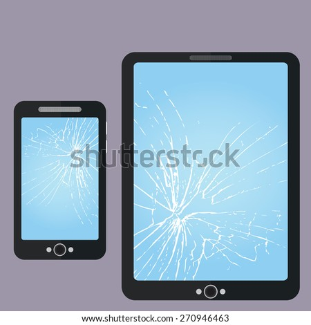 broken phone  tablet pc screen