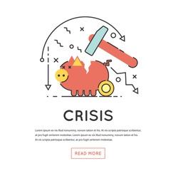 Broken Piggy Bank by hummer a thin line. Economic crisis, Capital leakage, Money losses, depression.  Flat design vector illustration.