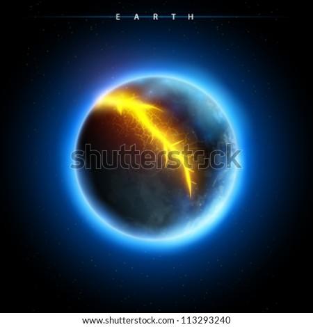 broken planet - vector