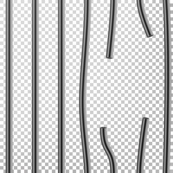 Broken Prison Bars Vector. Way Out To Freedom. Jail Break Concept. Prison-Breaking Illustration. Steel Grid. Transparent Background.