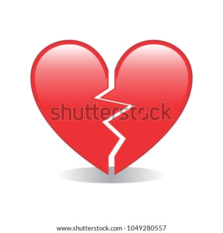 Broken Red Heart Emoji Vector