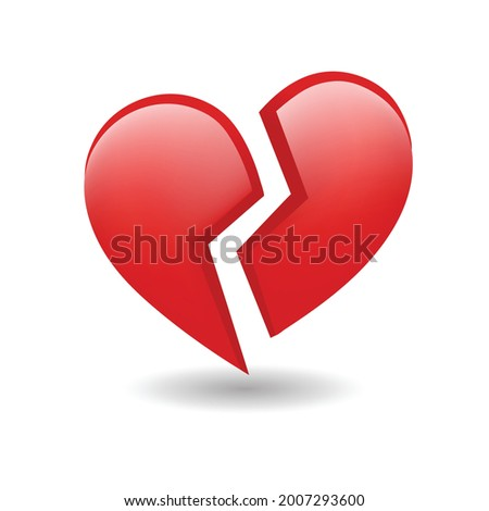 Broken Red Heart Emoji Vector. The isolated vector red love heart broken in two emoji icon, breaking heart, brokenhearted.  Photo stock ©