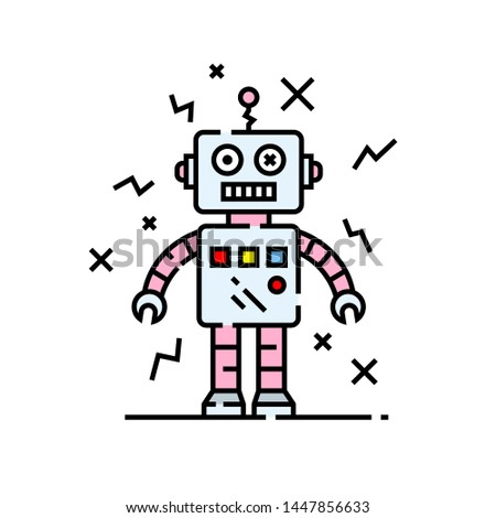 Broken robot line icon. Silly damaged robotic character cartoon. Vector illustration.