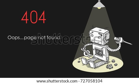 broken robot 404 page not found