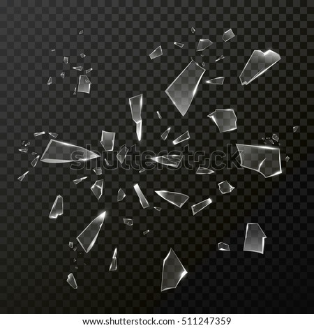 Broken shattered glass debris. Vector transparent glass crashed into pieces smithers. Cracked shatter mirror glass on black background.
